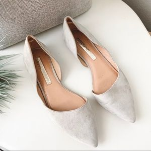 Audrey Brooke Nolan Suede Pointed Toe Flats Beige